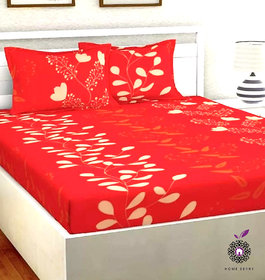Home Berry Microfiber Red 3D Printed 144 TC Double Bed Sheets With 2 Pillow Covers (Red & White, 5 X 7 FT)