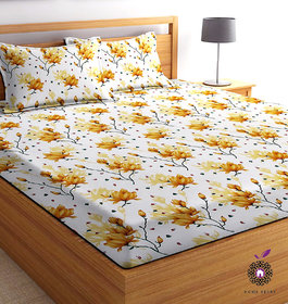 Home Berry microfiber Yellow 3D Printed 144 TC Double Bed Sheets With 2 Pillow Covers ( 5 X 7 FT)
