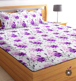 Home Berry microfiber Purple 3D Printed 144 TC Double Bed Sheets With 2 Pillow Covers (5 X 7 FT)