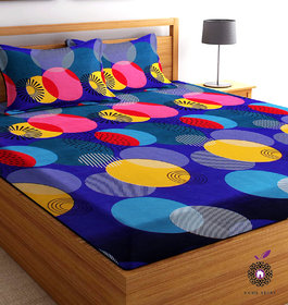 Home Berry microfiber Blue 3D Printed 144 TC Double Bed Sheets With 2 Pillow Covers (5 X 7 FT)