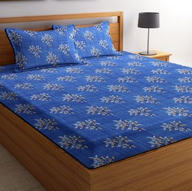 Home Berry microfiber 3D Printed 144 TC Double Bed Sheets With 2 Pillow Covers (5 X 7 FT)