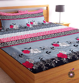 Home Berry microfiber Grey 3D Printed 144 TC Double Bed Sheets With 2 Pillow Covers (5 X 7 FT)
