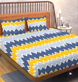 Home Berry microfiber Yellow 3D Printed 144 TC Double Bed Sheets With 2 Pillow Covers (5 X 7 FT)