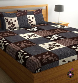 Home Berry microfiber Brown 3D Printed 144 TC Double bed sheets With 2 Pillow Covers (5 X 7 FT)