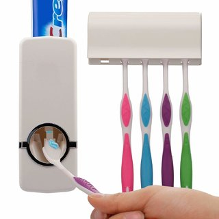Lazywindow Toothpaste Dispenser Toothbrush Holder for Home Bathroom Accessories