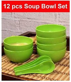 Green Plastic Round Shape Soup Bowls Set 6 Bowl and 6 Spoon