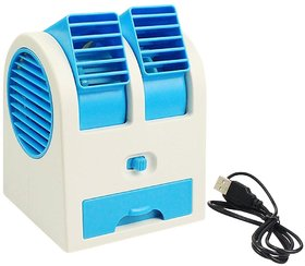 Mini Small Fan Cooling Portable Desktop Dual Bladeless water Air Cooler USB (Colour May Vary)