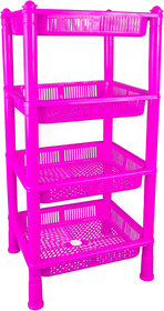 Spillbox Multipurpose Basket Stand Rack for Office Use, Home,Fruits Onion, Potato, Vegetables -4 RACKS PINK