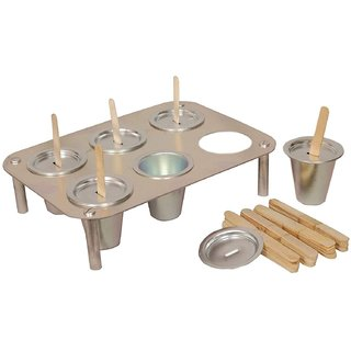 Vessel Crew Silver Aluminium Kulfi Maker Ice Cream Mould with Stand - Set of 6 Moulds, 1-Stand  24 Sticks