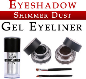 Vozwa Silver Eyeshadow Shining Shimmer Dust and Music Flower Gel Eyeliner (Black Brown)