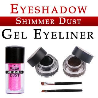 Vozwa Pink Eyeshadow Shining Shimmer Dust and Music Flower Gel Eyeliner (Black Brown)