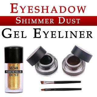 Vozwa Golden Eyeshadow Shining Shimmer Dust and Music Flower Gel Eyeliner (Black Brown)