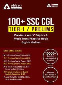 100 SSC CGL Books for Tier-I Previous Year Question Papers  English Medium Book by Adda247 Publications