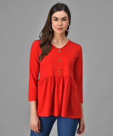 Vivient Women Red Three Button Peplum Top
