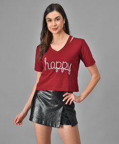 Vivient Women Happy Printed Maroon Top