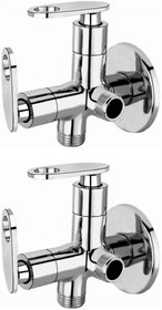 Joyway Oreo 2 in 1 Angle Cock Brass, Two Way Angle Valve Stop Cock (Pack of 2 Pieces)