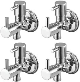 Joyway Flora 2 in 1 Angle Cock Brass, Two Way Angle Valve Stop Cock (Pack of 4 Pieces)