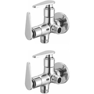 Joyway Vista 2 in 1 Angle Cock Brass, Two Way Angle Valve Stop Cock (Pack of 2 Pieces)
