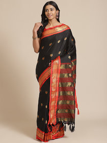 Meia Black And Red Cotton Saree