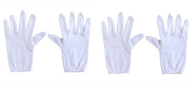 Aadikart  Bike Riding Protective Cotton Gloves White Half for Men and Women Pack of 2