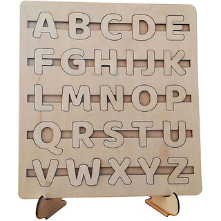 Whittlewud Pack of 1 Wooden Laser Cutout Alphabet Puzzle Montessori Toy for Kid, Educational Toddler Learning Toys