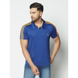 Glito Men's Blue & Neon Orange Stripe Running,Gym wear & Active wear Polo Collar Sports T-shirt