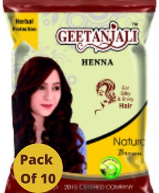 Geetanjali Henna Natural Brown Mehandi for hair care, Natural Hair color, pack of 10, 200 gm, Brown