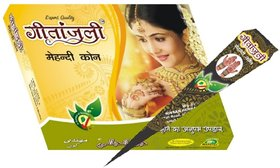 Geetanjali Mehandi Cone Pure Leaves of Natural Henna for Hand Design - Color Paste Cone- Pack of 2 , 24 pcs, 700 gm