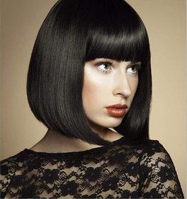 Shaear Hairs Glueless Straight Short Bob Cut Silk Top Lace Front Wigs Human Hair(size 18,Black)