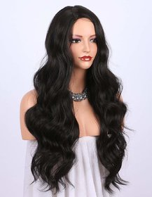 Shaear Hairs Dark Brown Human Wigs for women - Natural Looking Long Wavy Right Side Parting NONE Lace Heat Resistant(size 24,Brown)