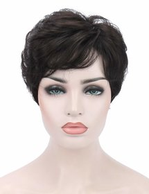 Shaear Hairs Women's short Wavy top quality Synthetic hair wig(size 8,brown)