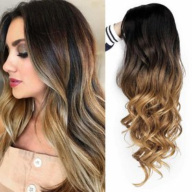 Shaear Hairs wigs long curly side part wig 2 tone black to light brown wavy wigs for women Human heat resistant party wigs natural looking(size 26,Blonde)