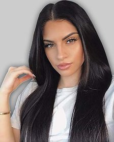 Shaear Hairs Wig Natural Straight looking human hair wig for Women(size 30,Black)