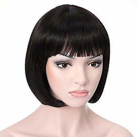 Shaear Hairs Short Straight Flapper Bob Heat Friendly Cosplay Party Human Hair Wig (size 10, Black)