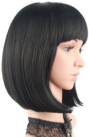 Shaear Hairs Human Short Hair Bob Wigs Straight With Flat Bangs Cosplay Wigs For Women Natural As Real Hair(size 14,Black)