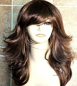Shaear Hairs Women's long wavy Synthetic wig (size 22,brown)