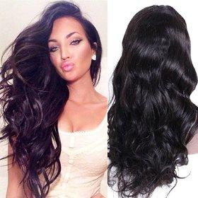 Shaear Hairs Medium Straight heat resisnant human hair Wig for Women's(size 20,Black)
