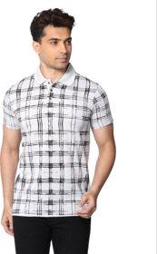 CLOTHINKHUB White Printed Polo Tshirt for Men
