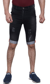 MagMatric5 Men's Jet Black Denim Roll-Up Shorts DA-6010