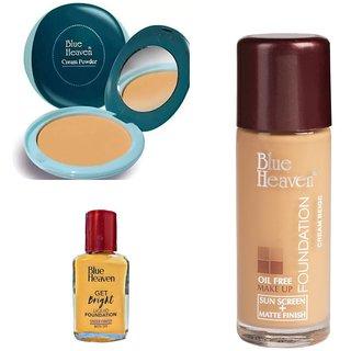 Blue heaven( Cream Powder, Get Bright Liquid Foundation  Oil free makeup Foundation) Combo