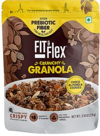 Fit  Flex Baked Granola  Choco, Almond  Cookies  Oat Rich Cereal  Ready to Eat Healthy Breakfast Food  Loaded with