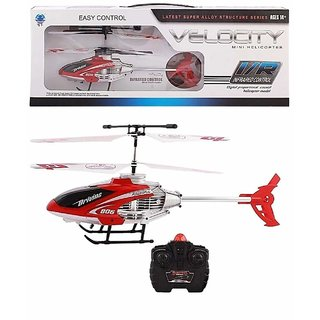 velocity remote control flying helicopter with unbreakable blades,rechargeable batteries infrared sensors (Multi color)