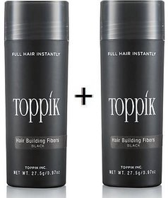 Top-pik Hair Building Fibers Black Color 27.5 grams,Covers Baldness and Hair Loss  Concealer Pack of 2 Authentic !!