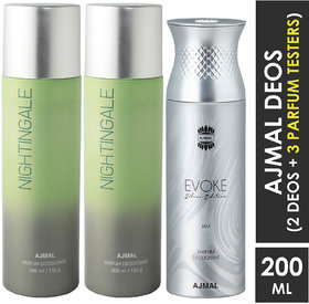 Ajmal 2 Nightingale And 1 Evoke Silver Edition For Him Deodorants Each 200Ml Pack Of 3+2 Parfum Testers (3 Items In The Set)