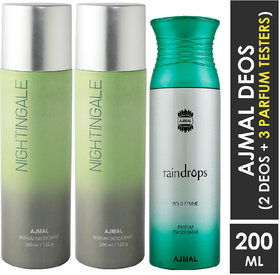 Ajmal 2 Nightingale For Men & Women And 1 Raindrops Femme For Women High Quality Deodorants Each 200Ml Combo Pack Of 3 (Total 600Ml) 2 Parfum Testers Perfume Body Spray  -  For Men & Women (600 Ml, Pack Of 3)