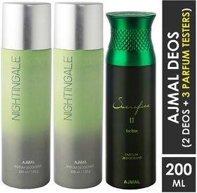 Ajmal 2 Nightingale And 1 Sacrifice Ii Deodorants For Unisex Each 200Ml Pack Of 3. (3 Items In The Set)