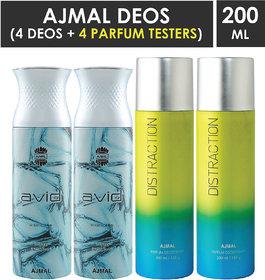 Ajmal 2 Avid For Men And 2 Distraction For Men & Women High Quality Deodorants Each 200Ml Combo Pack Of 4 (Total 800Ml) 2 Parfum Testers Perfume Body Spray  -  For Men & Women (800 Ml, Pack Of 4)