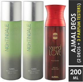 Ajmal 2 Nightingale And 1 Sacred Love Deodorants For Unisex Each 200Ml Pack Of 3+4 Parfum Testers Deodorant Spray  -  For Men & Women (600 Ml, Pack Of 3)