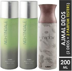 Ajmal 2 Nightingale And 1 Shadow Him Deodorants Each 200Ml Pack Of 3+2 Parfum Testers (3 Items In The Set)