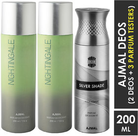 Ajmal 2 Nightingale And 1 Silver Shade Deodorants For Unisex Each 200Ml Pack Of 3. (3 Items In The Set)